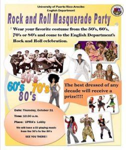 Flyer of a rock and roll masquerade part