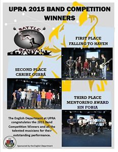 Flyer for the UPRA 2015 band competition winners